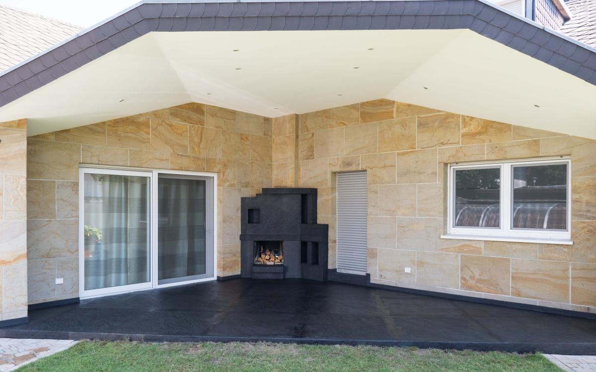der einsatz des flexiblen sandsteins im au enbereich und. Black Bedroom Furniture Sets. Home Design Ideas